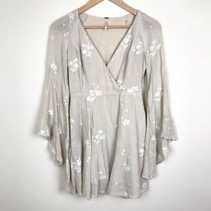 Free People Cream Embroidered Bell Sleeve Dress